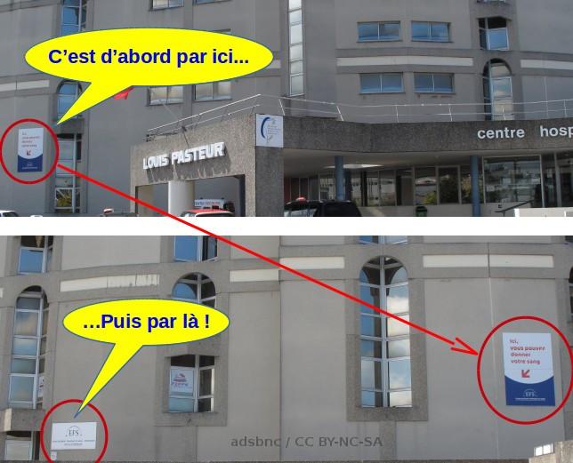 Chemin d'accès à l'Etablissement Français du sang